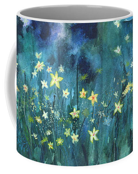 Landscape Coffee Mug featuring the painting Flowers N Breeze by Anil Nene