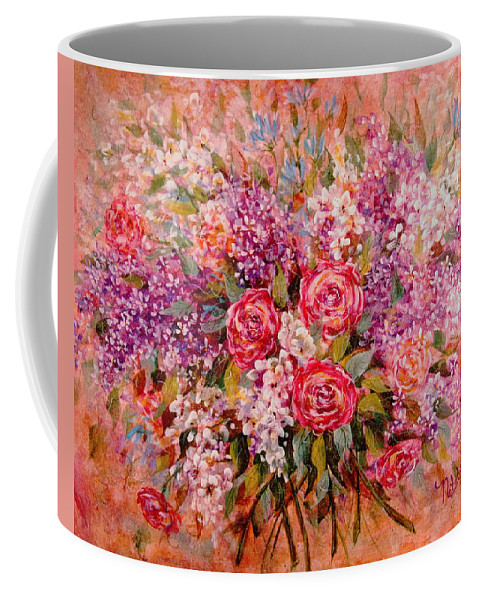 Romantic Flowers Coffee Mug featuring the painting Flowers Of Romance by Natalie Holland