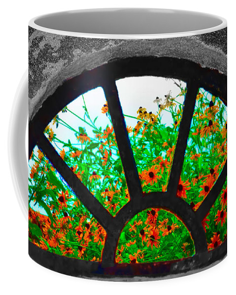 Monticello Coffee Mug featuring the photograph Flowers Through Basement Window At Monticello by Bill Cannon