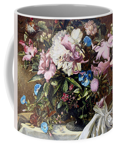 Flowers Coffee Mug featuring the painting Flowers With A Bird by Vladimir Buga