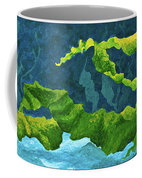 Ocean Coffee Mug featuring the painting Flowing Kelp by Marion Rose