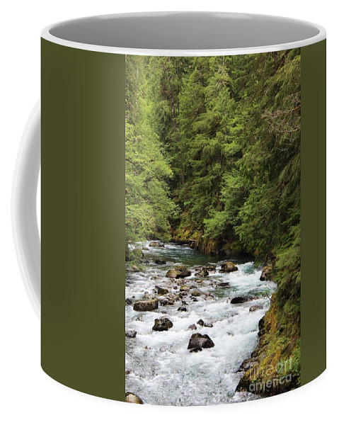 River Images Coffee Mug featuring the photograph Flowing Through The Trees by LKB Art and Photography