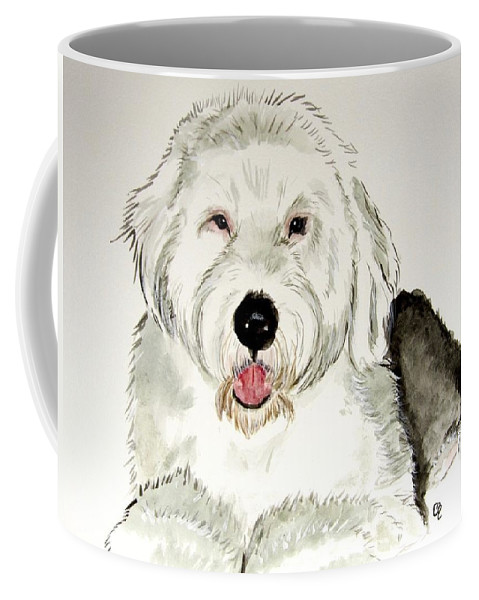 Old English Sheepdog Coffee Mug featuring the painting Fluffy Murphy by Carol Blackhurst