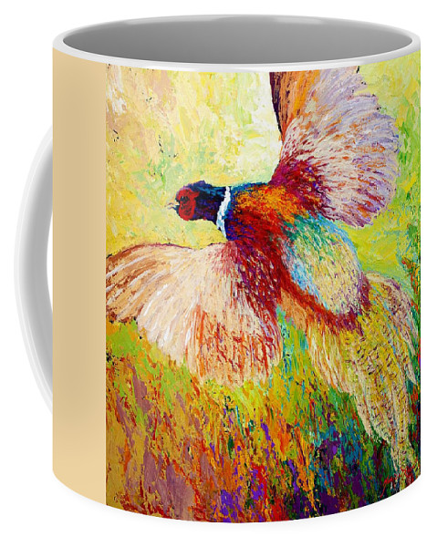 Pheasant Coffee Mug featuring the painting Flushed - Pheasant by Marion Rose