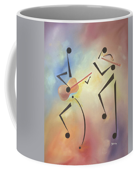 Black Art Coffee Mug featuring the painting Flutina by Ikahl Beckford