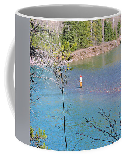 Landscape Coffee Mug featuring the photograph Fly Fisherman by Eric Fellegy