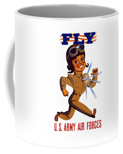 Air Force Coffee Mug featuring the painting Fly - Us Army Air Forces by War Is Hell Store