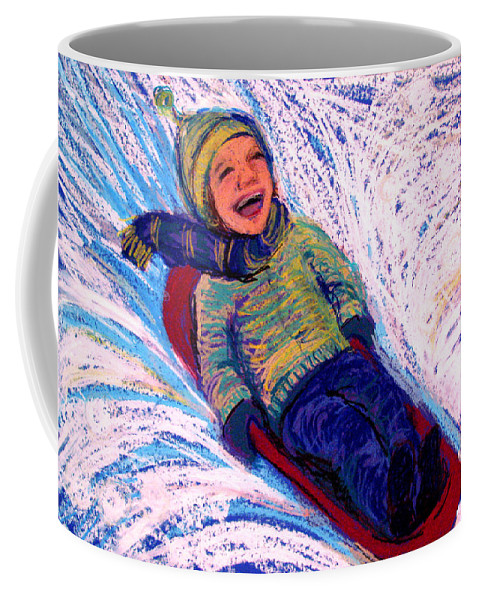 Sledding Coffee Mug featuring the pastel Flying by Art Nomad Sandra Hansen