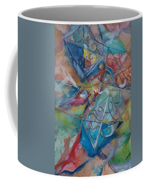 Colors And Shapes Move The C's Around. Abstract Coffee Mug featuring the mixed media Flying Cs by Charme Curtin