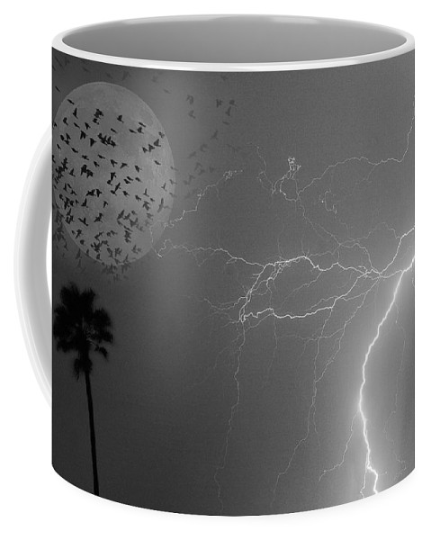 Black And White Coffee Mug featuring the photograph Flying From The Storm Bw by James BO Insogna