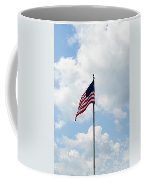 Old Glory Coffee Mug featuring the photograph Flying High by Eric Liller