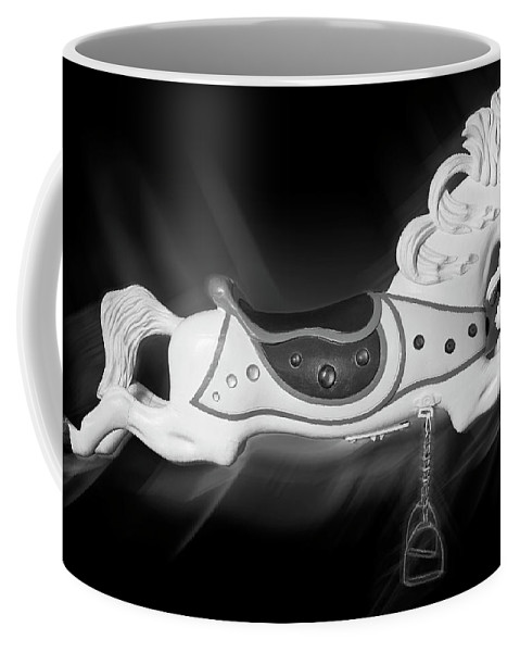 Carousel Horse Coffee Mug featuring the photograph Flying Horse Black And White by Kelley King
