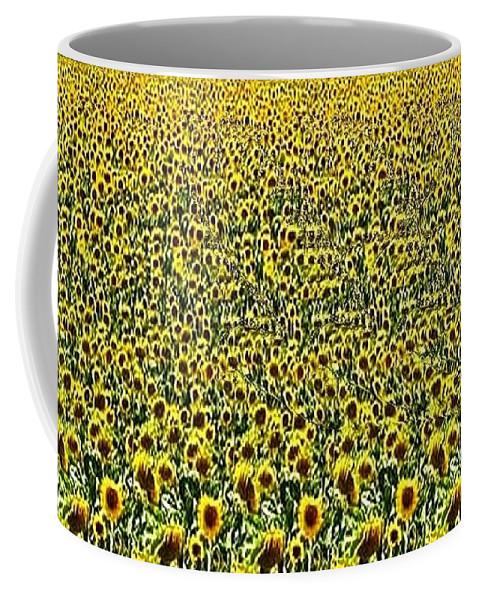 Flying Bird Coffee Mug featuring the digital art Flying Over Sunflower Fields by JMar P