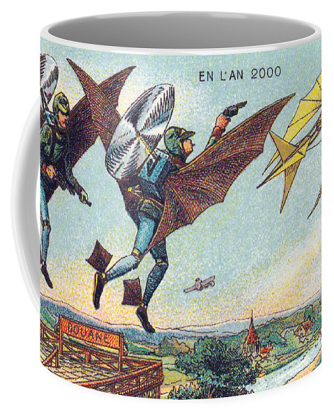 Science Coffee Mug featuring the photograph Flying Policemen, 1900s French Postcard by Science Source