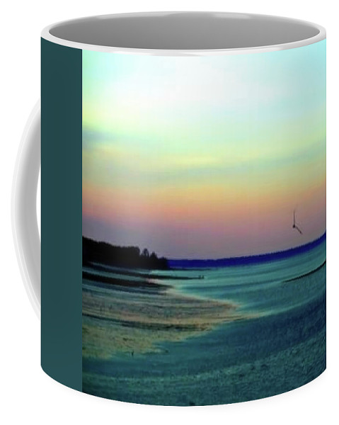 Plymouth Harbor Coffee Mug featuring the photograph Flying Solo by Roberta Trabish