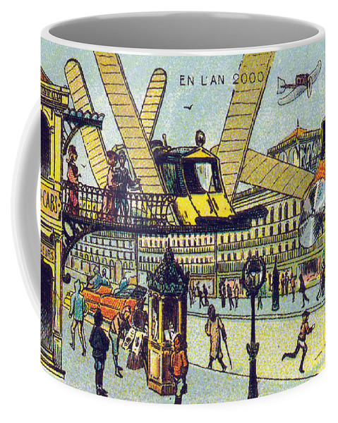 Science Coffee Mug featuring the photograph Flying Taxicabs, 1900s French Postcard by Science Source