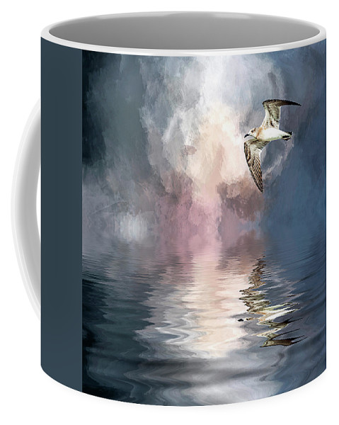 Seagull Coffee Mug featuring the photograph Flying Towards The Light by Cyndy Doty