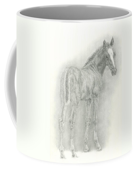 Foal Coffee Mug featuring the drawing Spring Foal by Jennifer Nilsson