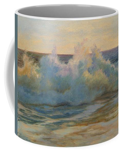 Waves Coffee Mug featuring the painting Foaming Ocean Waves by Phyllis Tarlow