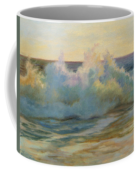 Landscape Coffee Mug featuring the painting Foaming Waves At Beach by Phyllis Tarlow