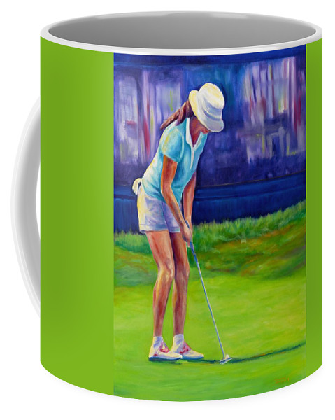 Woman Coffee Mug featuring the painting Focus by Shannon Grissom