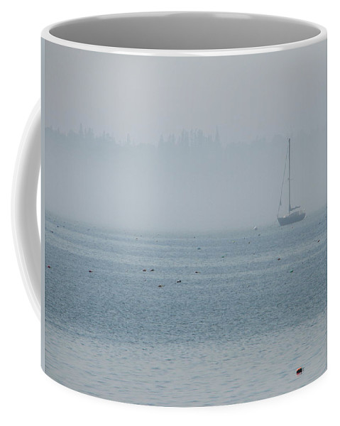 Fog Coffee Mug featuring the photograph Fog On Davis Cove by Kelly Mezzapelle