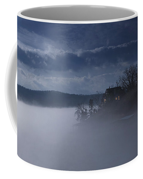 Lake Coffee Mug featuring the photograph Fog On The Lake - Dawn At The Lake Of The Ozarks, Missouri by Mitch Spence