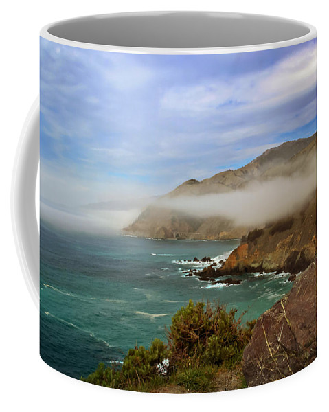 Pacific Coast Highway Coffee Mug featuring the photograph Foggy Day At Big Sur by Susan Rissi Tregoning