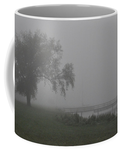 Fog Coffee Mug featuring the photograph Foggy Dock by Tim Nyberg