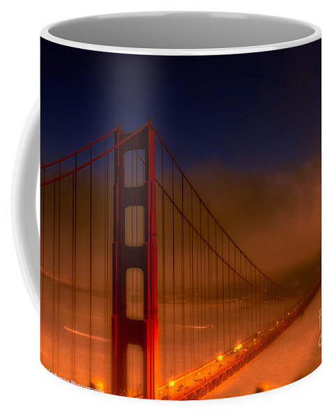 Golden Gate Bridge Coffee Mug featuring the photograph Foggy Golden Gate At Sunset by Tommy Anderson