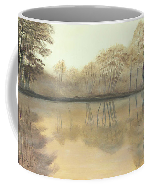 Nature Coffee Mug featuring the painting Foggy Reflections by Johanna Lerwick