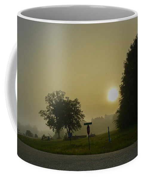 Sunrise Coffee Mug featuring the photograph Foggy Sunrise by James Hennis