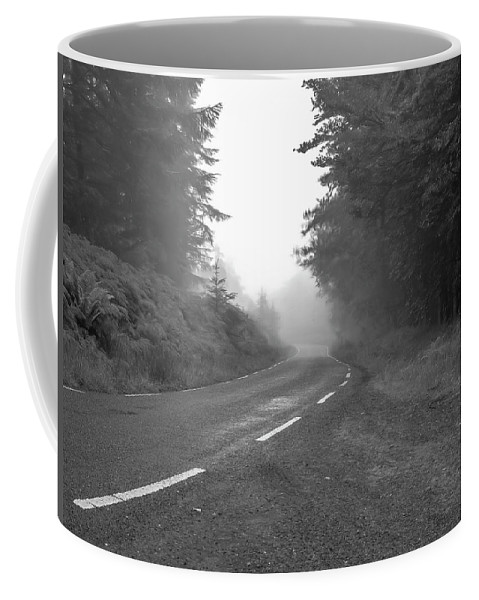 Black And White Coffee Mug featuring the photograph foggy way BW by Leif Sohlman