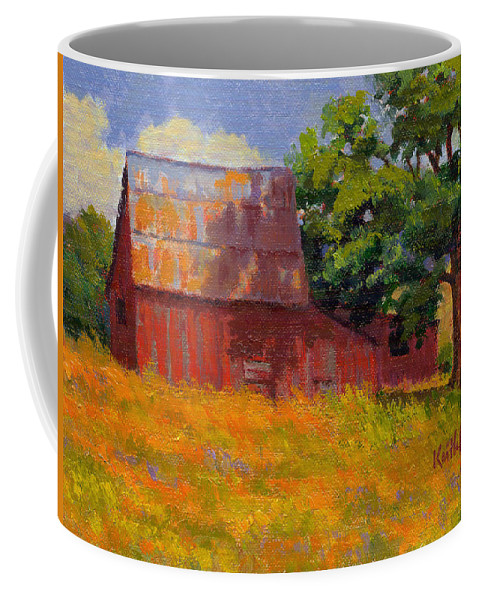 Landscape Coffee Mug featuring the painting Foglesong Barn by Keith Burgess