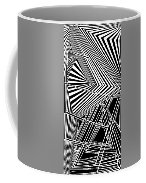 Dynamic Black And White Coffee Mug featuring the painting Folderol by Douglas Christian Larsen