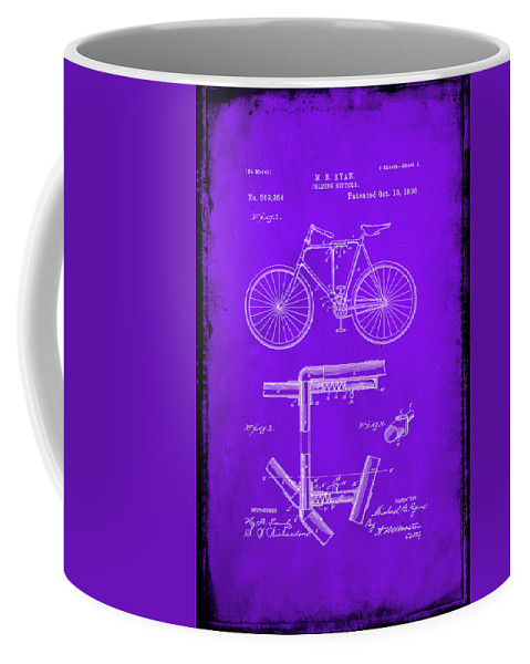 Patent Coffee Mug featuring the mixed media Folding Bycycle Patent Drawing 1e by Brian Reaves