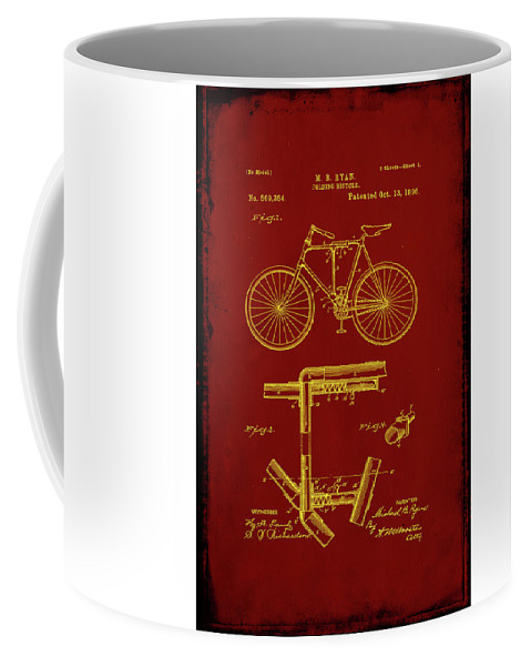 Patent Coffee Mug featuring the mixed media Folding Bycycle Patent Drawing 1f by Brian Reaves