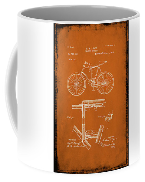 Patent Coffee Mug featuring the mixed media Folding Bycycle Patent Drawing 1g by Brian Reaves