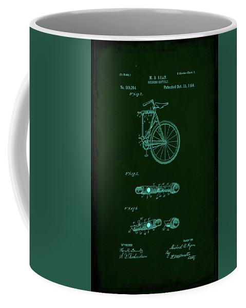 Patent Coffee Mug featuring the mixed media Folding Bycycle Patent Drawing 2a by Brian Reaves