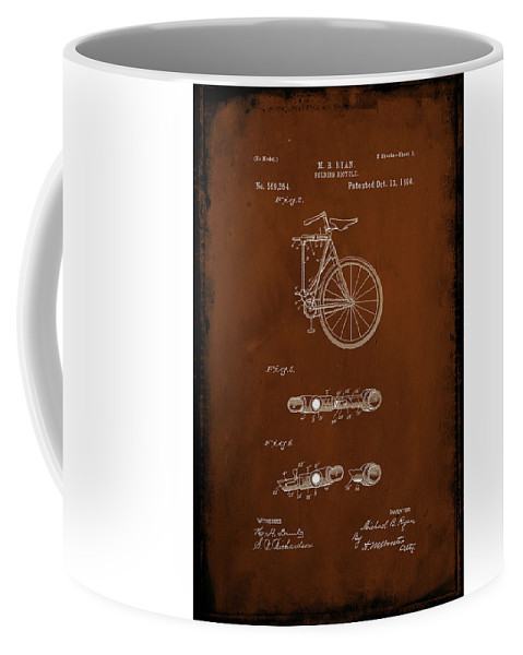 Patent Coffee Mug featuring the mixed media Folding Bycycle Patent Drawing 2c by Brian Reaves