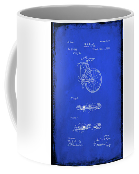 Patent Coffee Mug featuring the mixed media Folding Bycycle Patent Drawing 2d by Brian Reaves