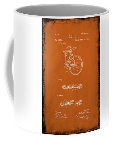 Patent Coffee Mug featuring the mixed media Folding Bycycle Patent Drawing 2e by Brian Reaves