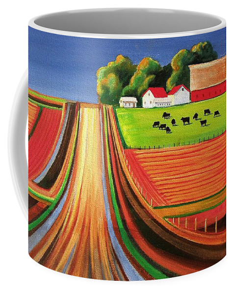 Folk Art Coffee Mug featuring the painting Folk Art Farm by Toni Grote