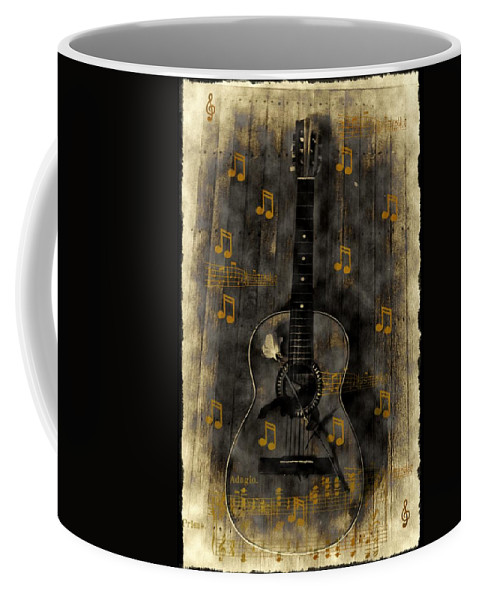 Guitar Coffee Mug featuring the photograph Folk Guitar by Bill Cannon