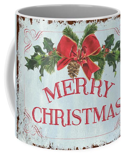 Pine Cone Coffee Mug featuring the painting Folk Merry Christmas by Debbie DeWitt