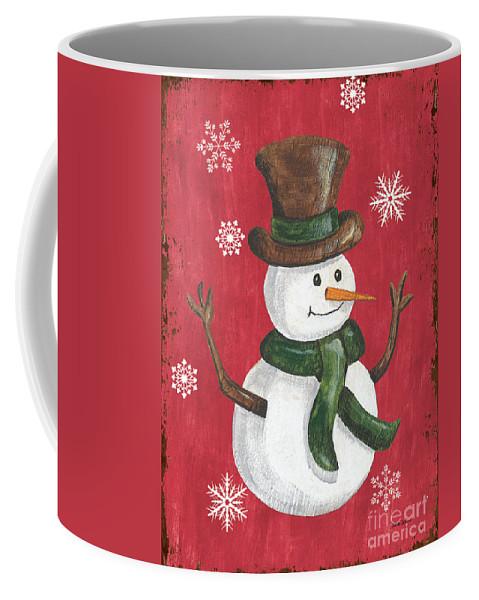 Snowman Coffee Mug featuring the painting Folk Snowman by Debbie DeWitt