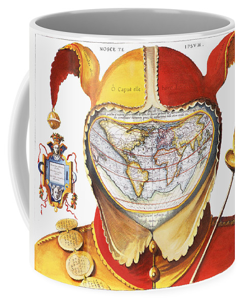 1590 Coffee Mug featuring the photograph Fools Cap World Map, C1590 by Granger
