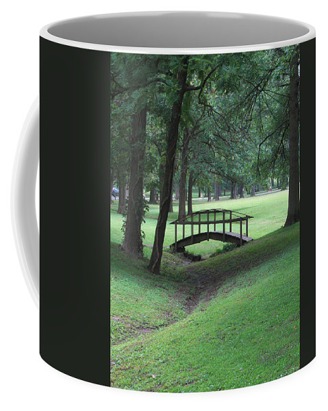 Bridge Coffee Mug featuring the photograph Foot Bridge In The Park by J R Seymour