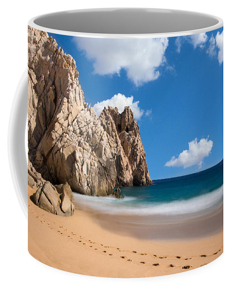 Outdoor Coffee Mug featuring the photograph Foot Prints In Cabo by David Cornelius