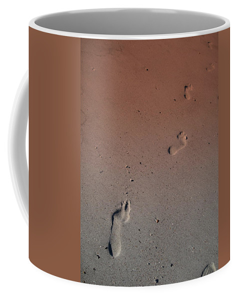 Foot Print Photos Coffee Mug featuring the photograph Foot Prints On The Beach by Susanne Van Hulst